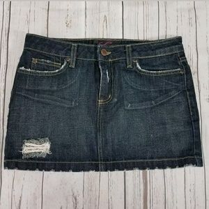 Lux Denim Mini Skirt Size 27 Distressed Destroyed